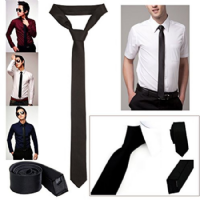 Modern Slim Solid Black Tie, Soft Sheen